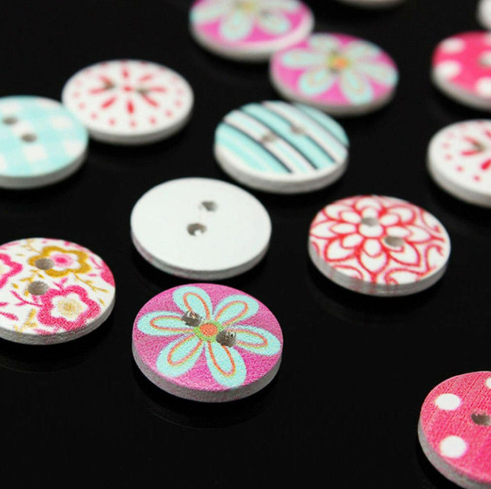 Blue, Pink and Red Sewing Buttons x 20