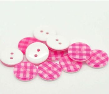Gingham Sewing Buttons in Pink  x 10