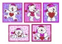 Pink and Purple Christmas Love Teddy Card Toppers x 5