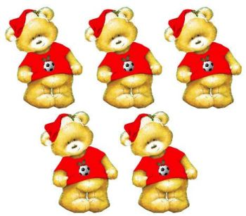 Red Football Christmas Teddy Bear Card Toppers