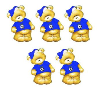 Blue Football Christmas Teddy Bear Card Toppers