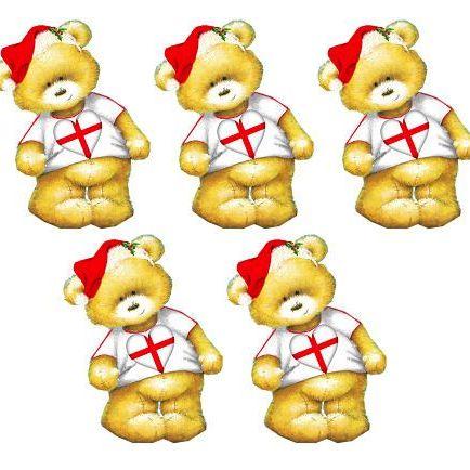 English Christmas Teddy Bear Toppers