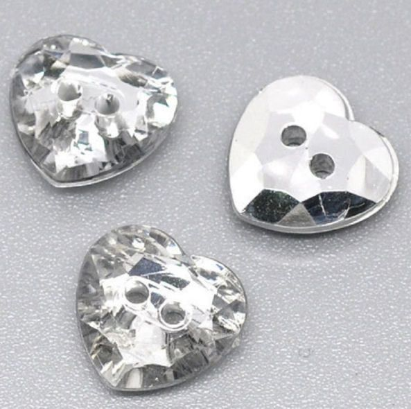 Sparkly Silver Clear Heart Buttons x 10