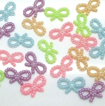 Pearl Bows Craft Embellishments x 8