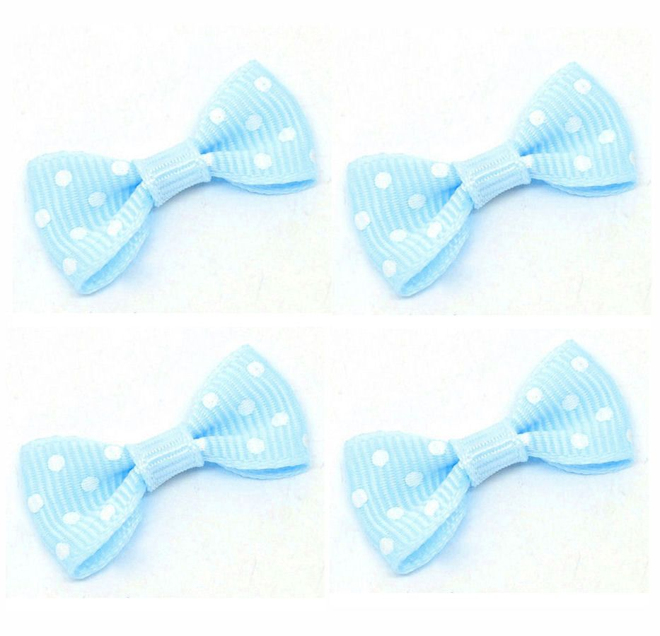 Spotty Fabric Bows Embellishments - Blue x 5