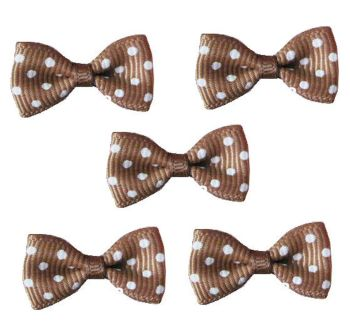 Spotty Fabric Bows Embellishments - Brown x 5