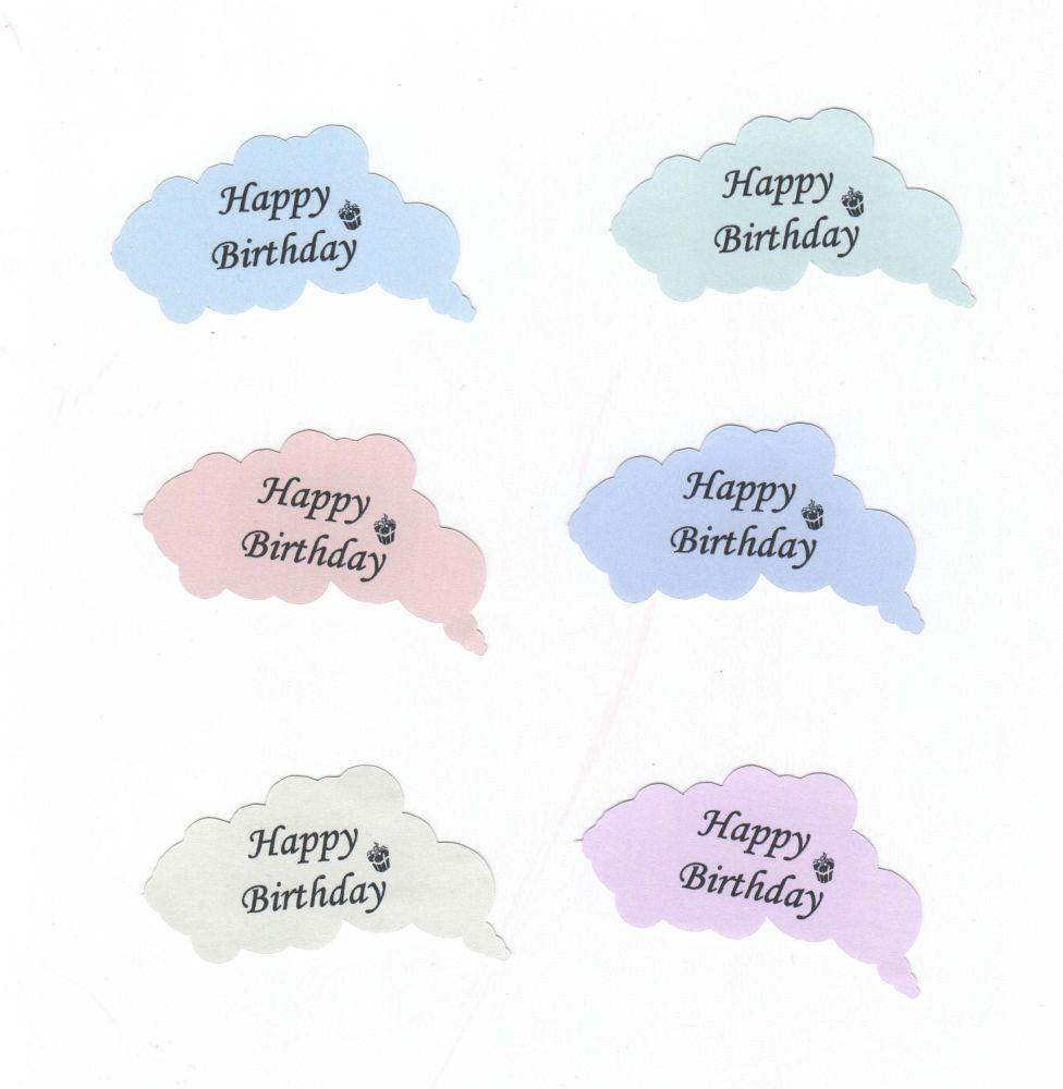 Happy Birthday Cloud Shape Die Cut Shapes x 6