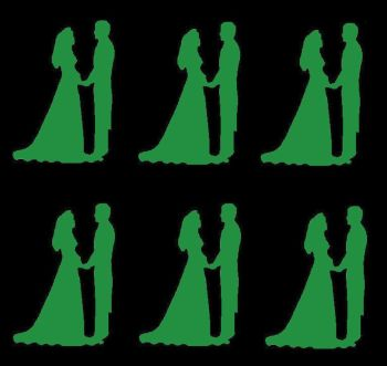 Green Silhouette Bride and Groom Craft Embellishments