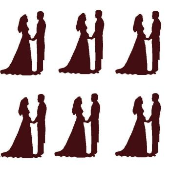 Brown Silhouette Bride and Groom Craft Embellishments