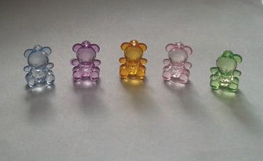 Teddy Bear Crystal Craft Embellishments x 5