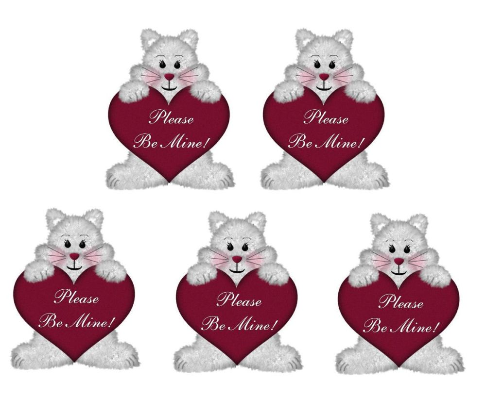Valentines Day Bears Card Toppers - Please Be Mine