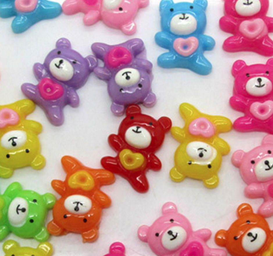 Mini Love Teddy Bear Resin Craft Embellishments x 4