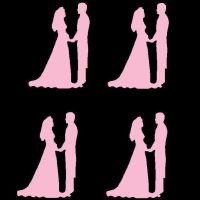 Baby Pink Bride and Groom Craft Embellishments x 20