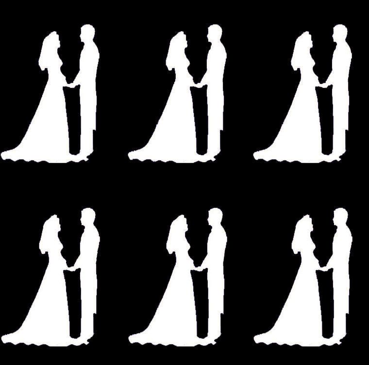 White Bride and Groom Craft Embellishments - x 20
