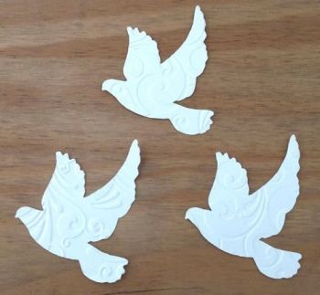 Embossed White Doves Crafting Embellishments x 20