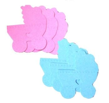 Pram Die Cut Embellishments - Blue and Pink x 10