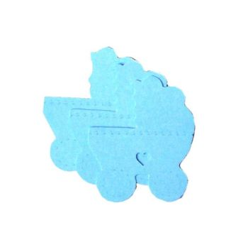 Blue Die Cut Pram Embellishments x 10