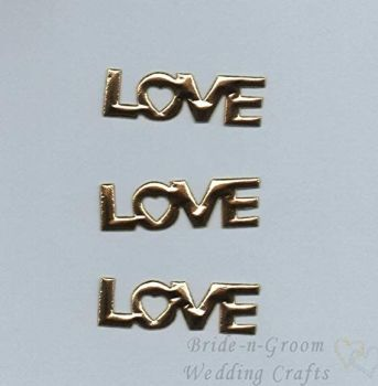 Gold Love Word Padded Embellishments x 10