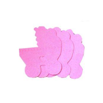 Pink Die Cut Pram Embellishments x 10