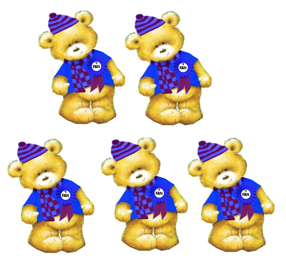 Blue Sports Fan Teddy Bear Card Toppers