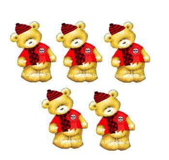 Red Sports Fan Teddy Bear Card Toppers