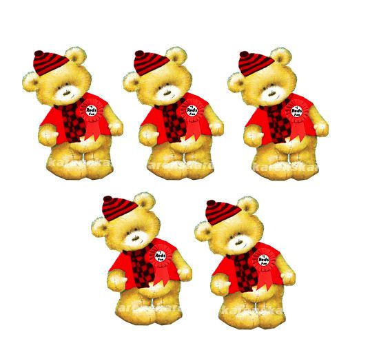 Red Sports Fan Teddy Bear Card Toppers