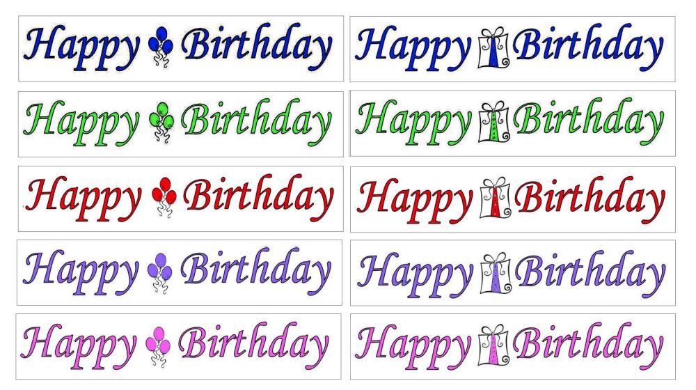 Happy Birthday Banner Embellishments x 20