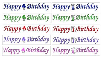 Happy Birthday Banner Embellishments x 20