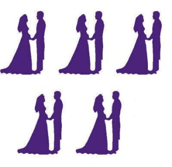 Purple Bride and Groom Craft Embellishments x 20