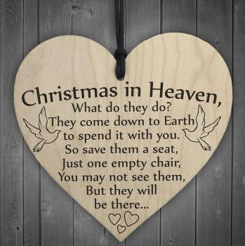 Christmas in Heaven Heart Memorial Plaque