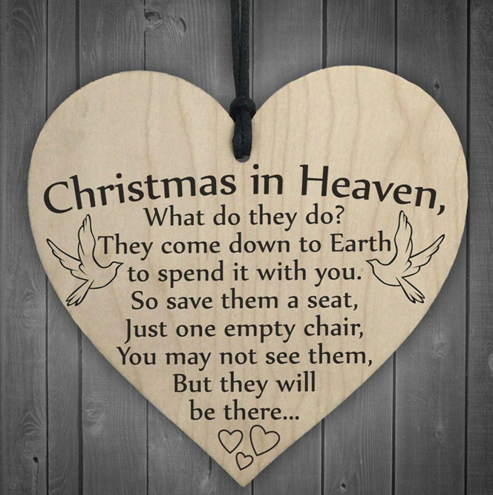 Christmas in Heaven Heart Memorial Plaque