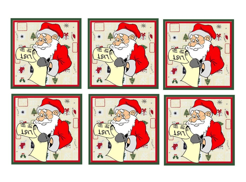 Santa with List Christmas Card Toppers x 6