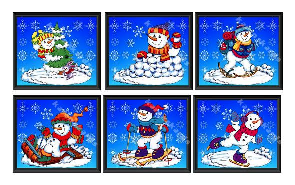 Snowmen Blue Christmas Card Toppers