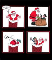Funny Santa Christmas Card Making Toppers x 4