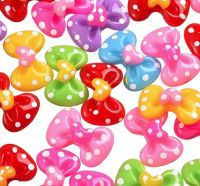 Spotty Bow Resin Craft Embellishments x 4