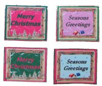 Merry Christmas and Seasons Greetings Paper Embellishments x 8