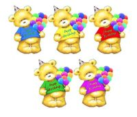Birthday Teddy Bear Card Toppers