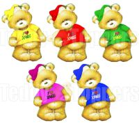 I Love Christmas Teddy Bear Toppers x 5