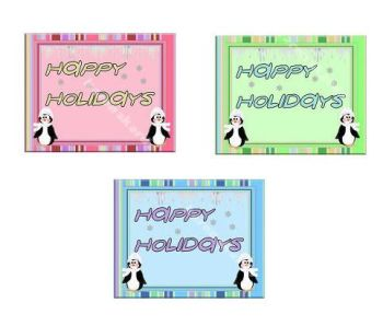 Happy Holidays Penguin Christmas Paper Embellishments x 8
