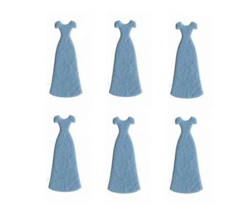 Dress Shapes in Blue Paper Craft Embellishments x 6