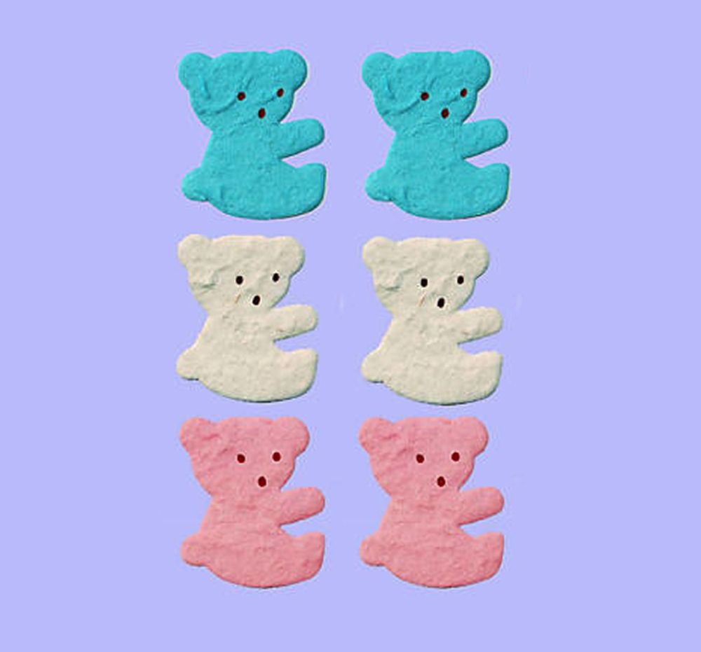 Teddy Paper Craft Embellishments x 6