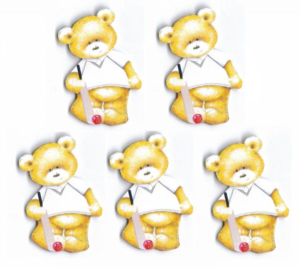 Cricket Teddy Bear Card Toppers x 5