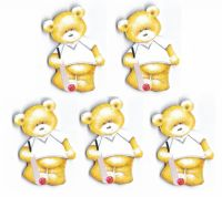 Cricket Teddy Bear Card Toppers x 5
