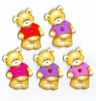 Valentines Love Teddy Bear Card Toppers x 5