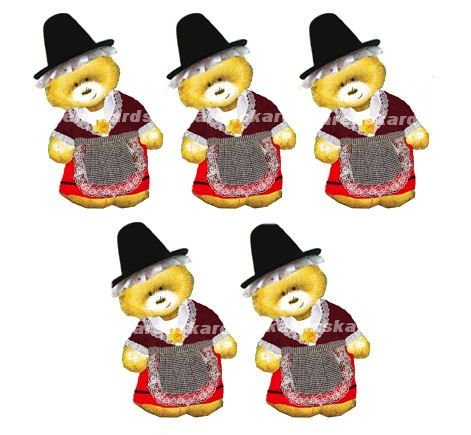 Welsh Costume Teddy Bear Card Toppers x 5