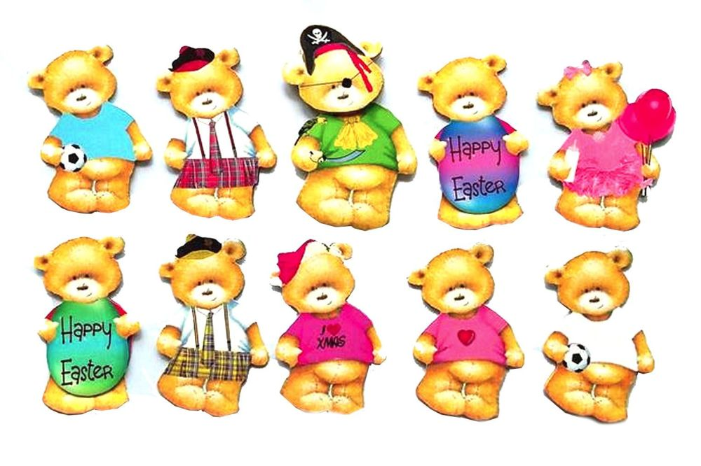 Teddy Card Making Toppers - Assorted Designs x 10
