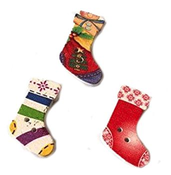 Colourful Christmas Stockings Wooden Embellishments x 3