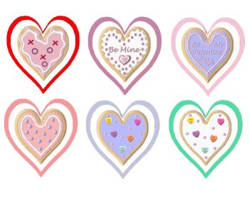 Valentine Cookies Heart Shaped Card Making Toppers