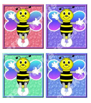 Bee Card Toppers in Cute Shades x 4