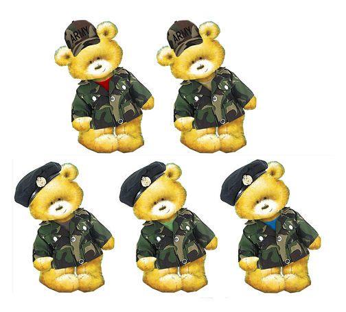 Army Teddy Bear Card Toppers
